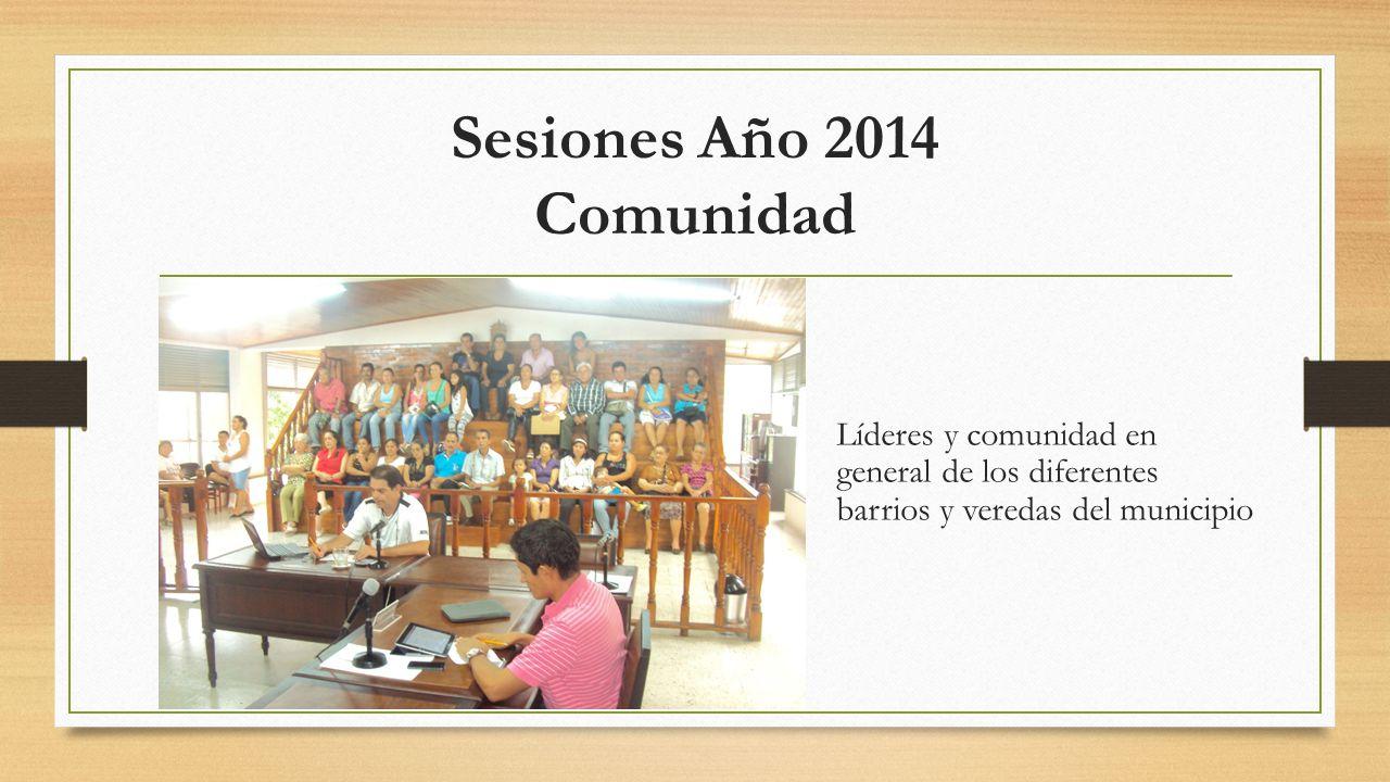 Sesiones Año 2014 Comunidad