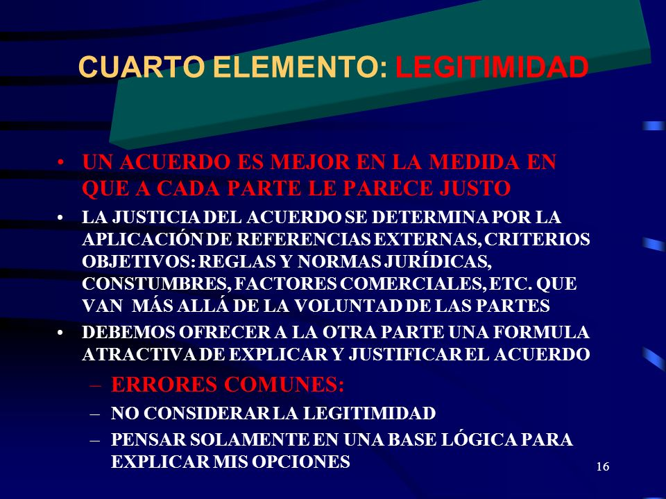 CUARTO ELEMENTO: LEGITIMIDAD