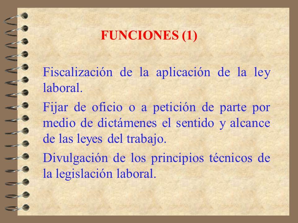 FUNCIONES (1) Fiscalización de la aplicación de la ley laboral.