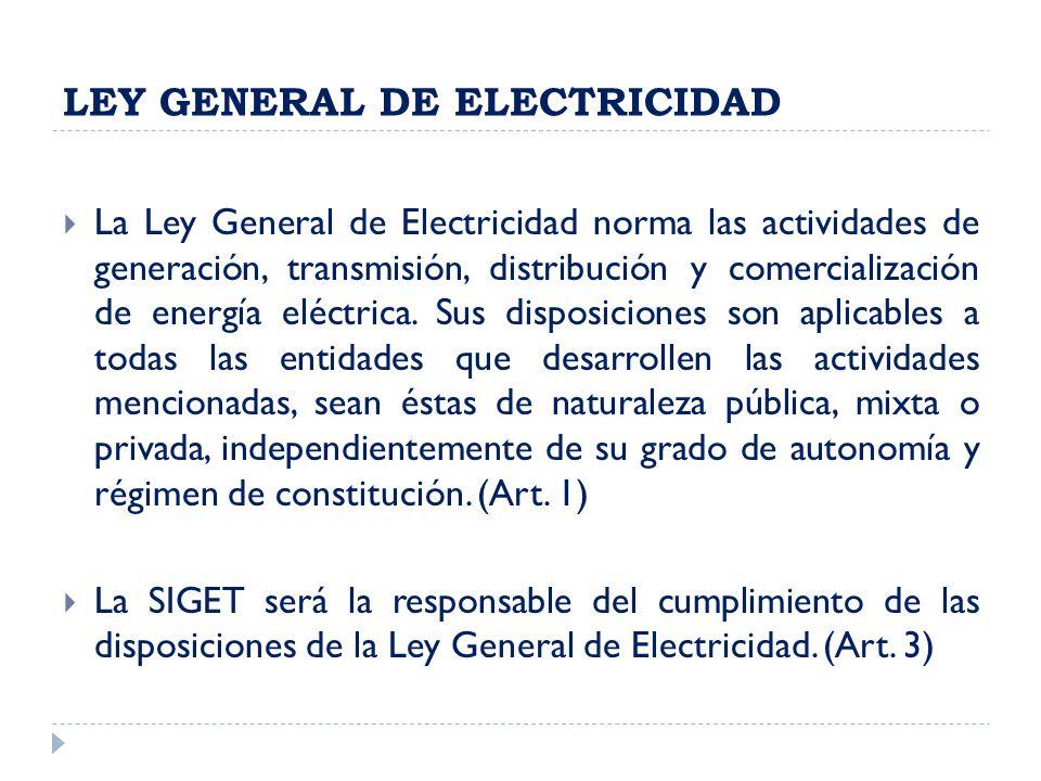 LEY GENERAL DE ELECTRICIDAD