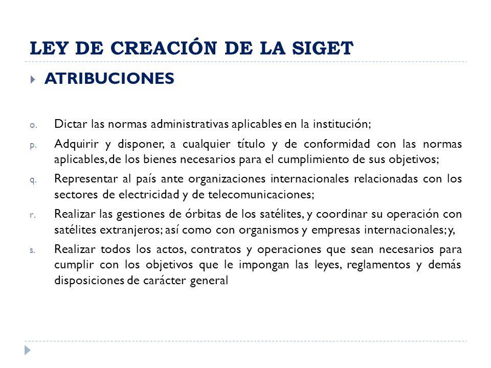 LEY DE CREACIÓN DE LA SIGET