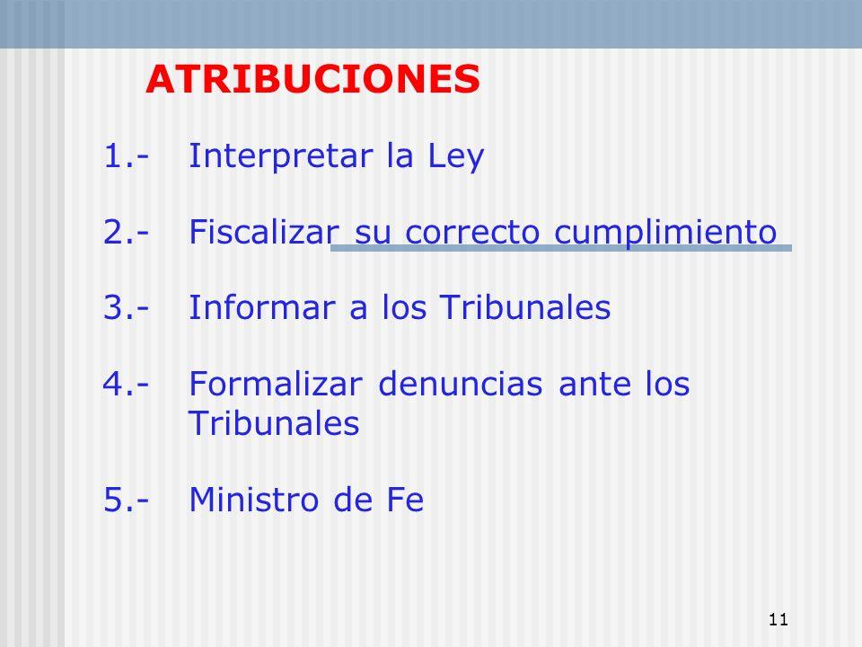 ATRIBUCIONES 1.- Interpretar la Ley