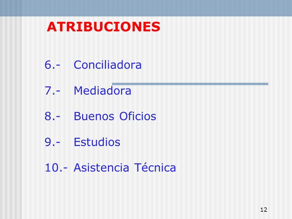 ATRIBUCIONES 6.- Conciliadora 7.- Mediadora 8.- Buenos Oficios