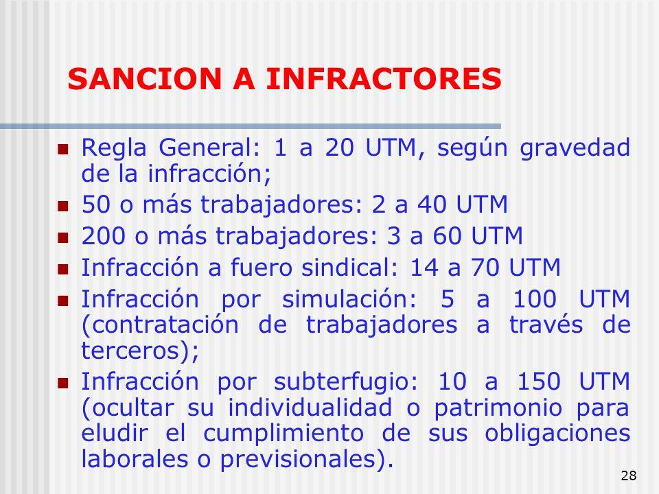 SANCION A INFRACTORESRegla General: 1 a 20 UTM, según gravedad de la infracción; 50 o más trabajadores: 2 a 40 UTM.