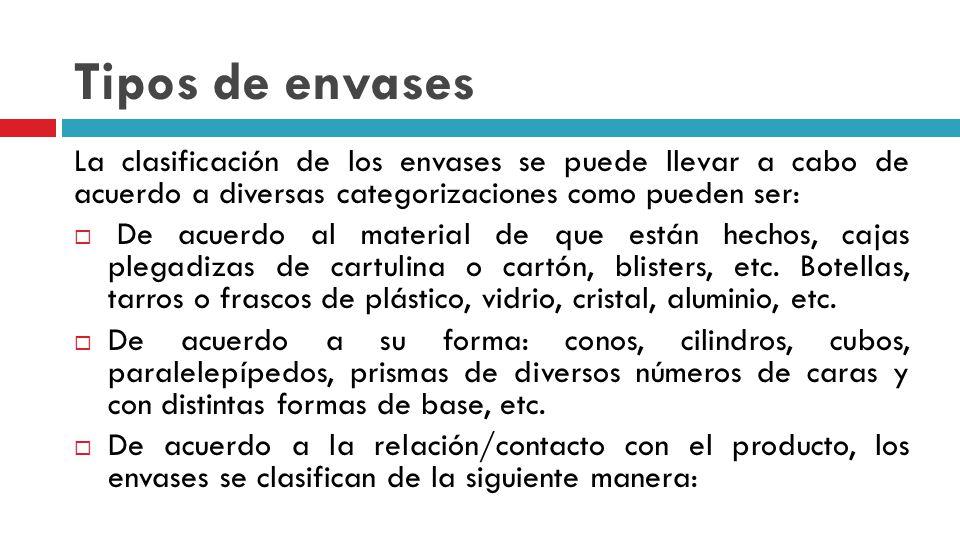 Tipos de envases La clasificación de los envases se puede llevar a cabo de acuerdo a diversas categorizaciones como pueden ser: