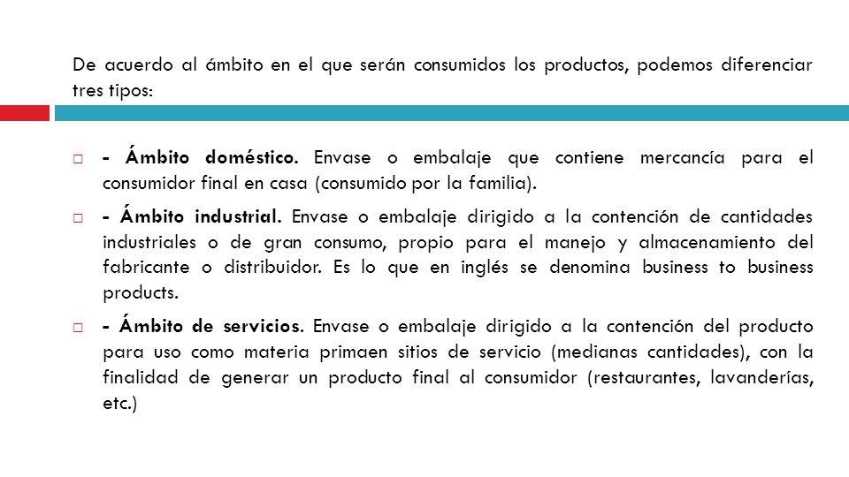 De acuerdo al ámbito en el que serán consumidos los productos, podemos diferenciar tres tipos: