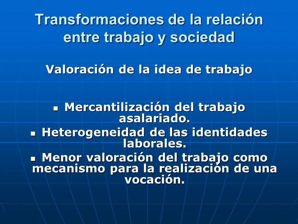 Transformaciones de la relación entre trabajo y sociedad