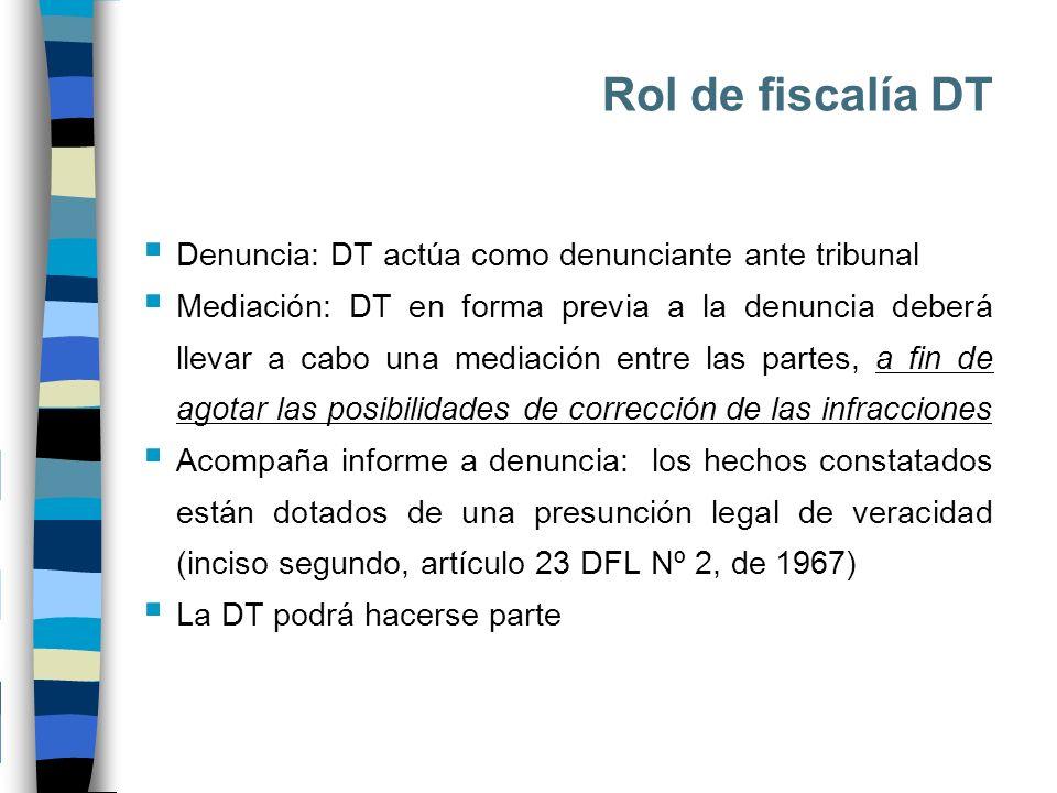 Rol de fiscalía DT Denuncia: DT actúa como denunciante ante tribunal