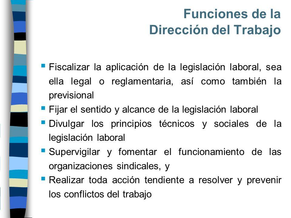 Funciones de la Dirección del Trabajo