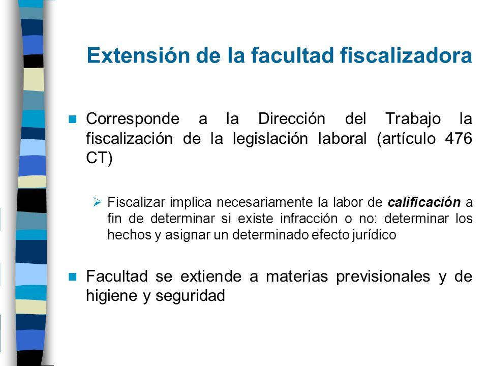 Extensión de la facultad fiscalizadora