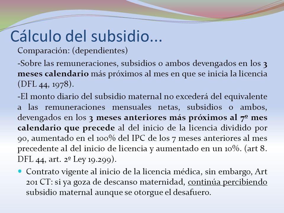 Cálculo del subsidio... Comparación: (dependientes)