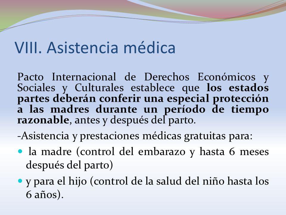 VIII. Asistencia médica