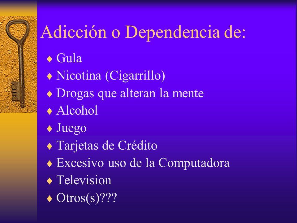 Adicción o Dependencia de: