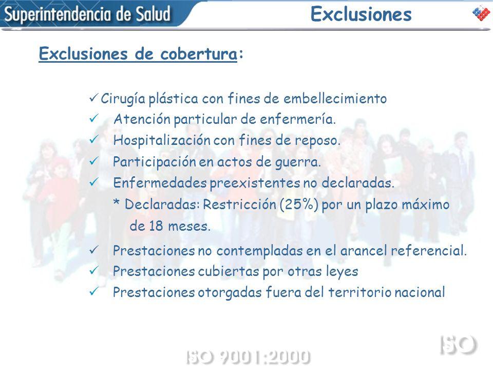Exclusiones Exclusiones de cobertura: