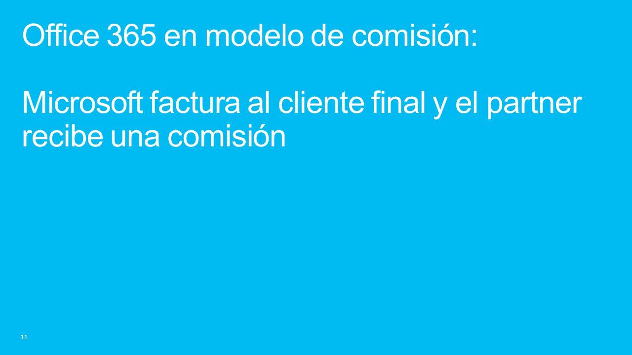 Office 365 en modelo de comisión: Microsoft factura al cliente final y el partner recibe una comisión
