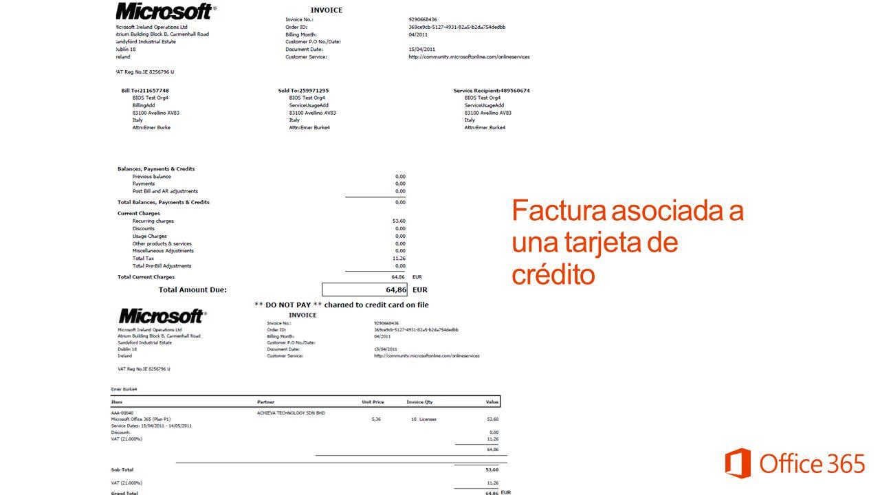 Factura asociada a una tarjeta de crédito