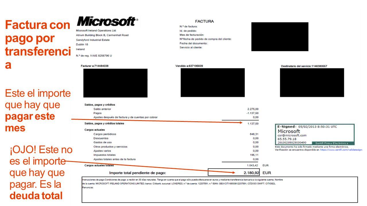 Factura con pago por transferencia