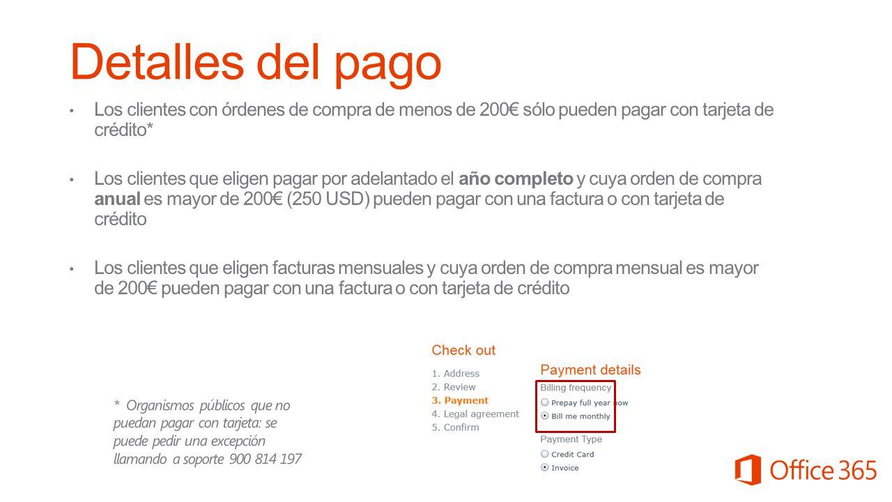 Detalles del pago Los clientes con órdenes de compra de menos de 200€ sólo pueden pagar con tarjeta de crédito*
