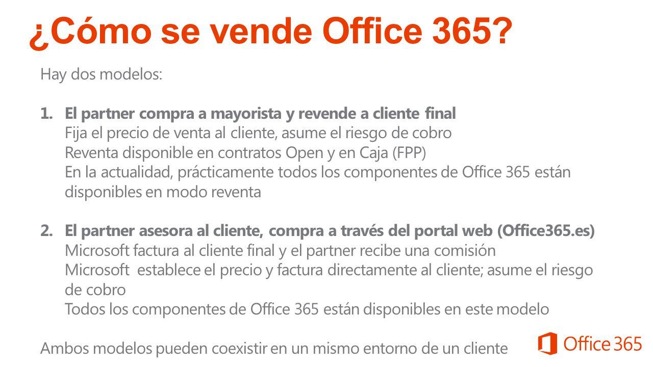 ¿Cómo se vende Office 365 Hay dos modelos: