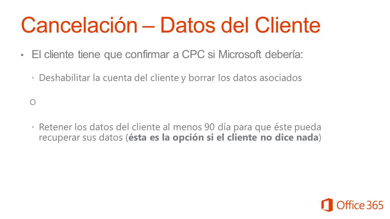 Cancelación – Datos del Cliente