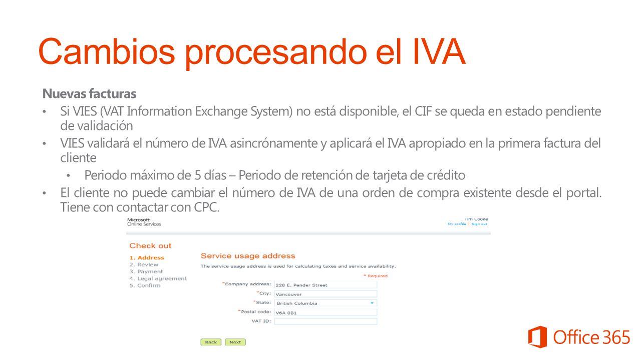 Cambios procesando el IVA