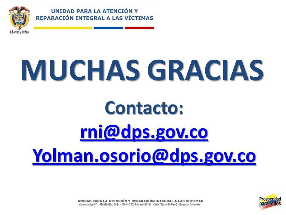 MUCHAS GRACIAS Contacto: rni@dps.gov.co Yolman.osorio@dps.gov.co