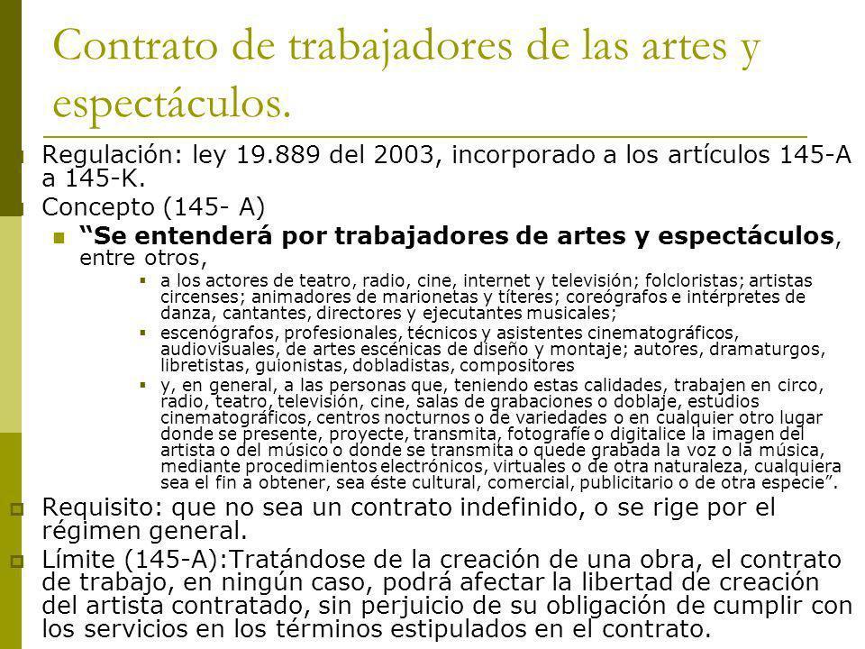 Contrato de trabajadores de las artes y espectáculos.