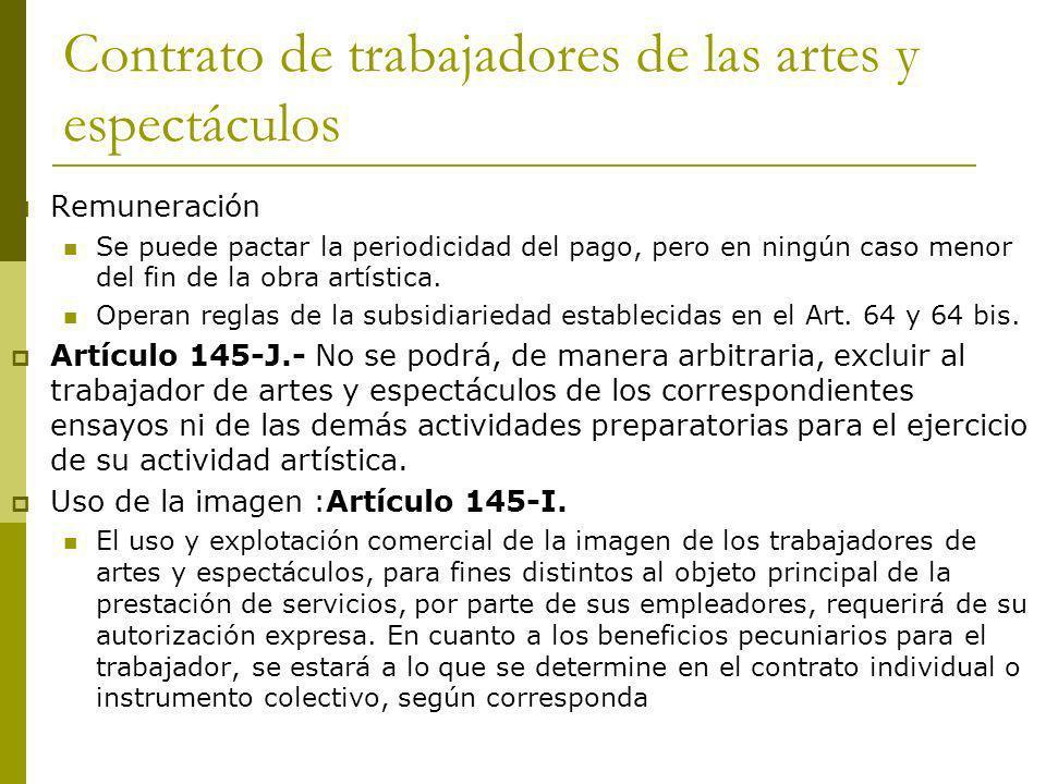 Contrato de trabajadores de las artes y espectáculos