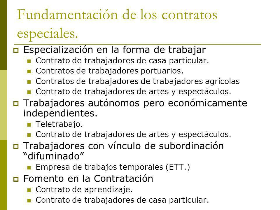 Fundamentación de los contratos especiales.