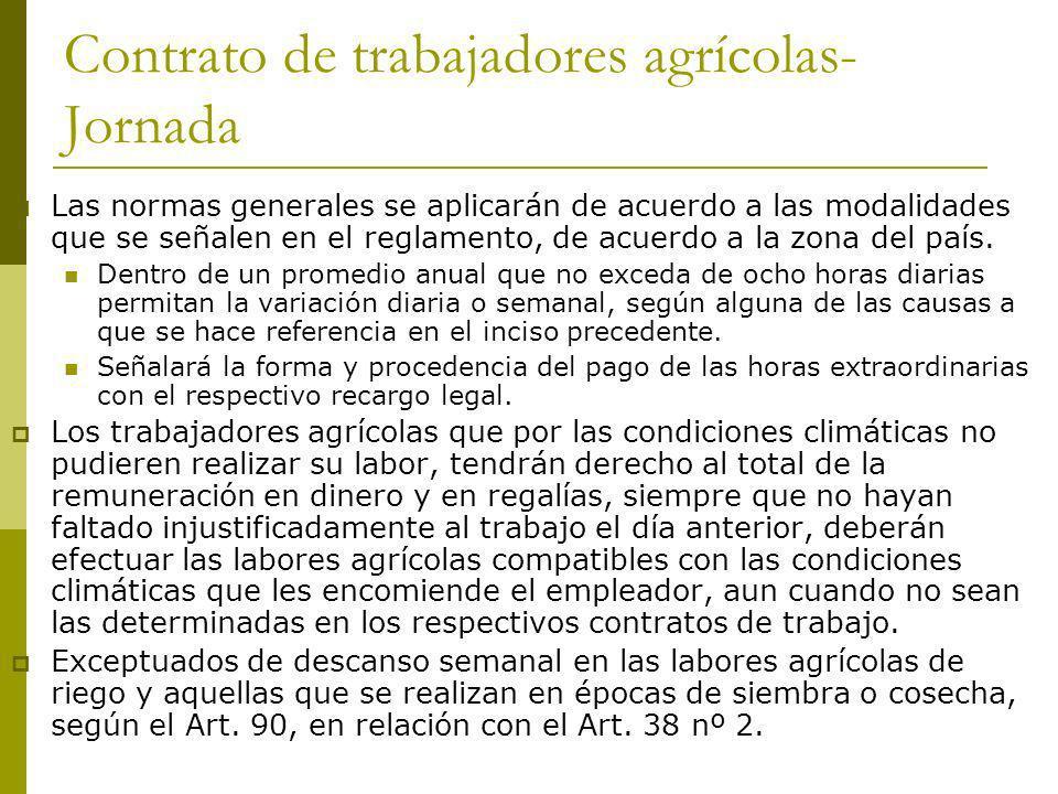 Contrato de trabajadores agrícolas-Jornada