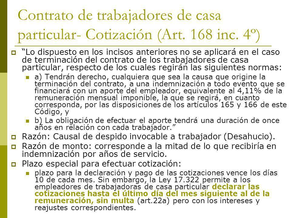 Contrato de trabajadores de casa particular- Cotización (Art. 168 inc