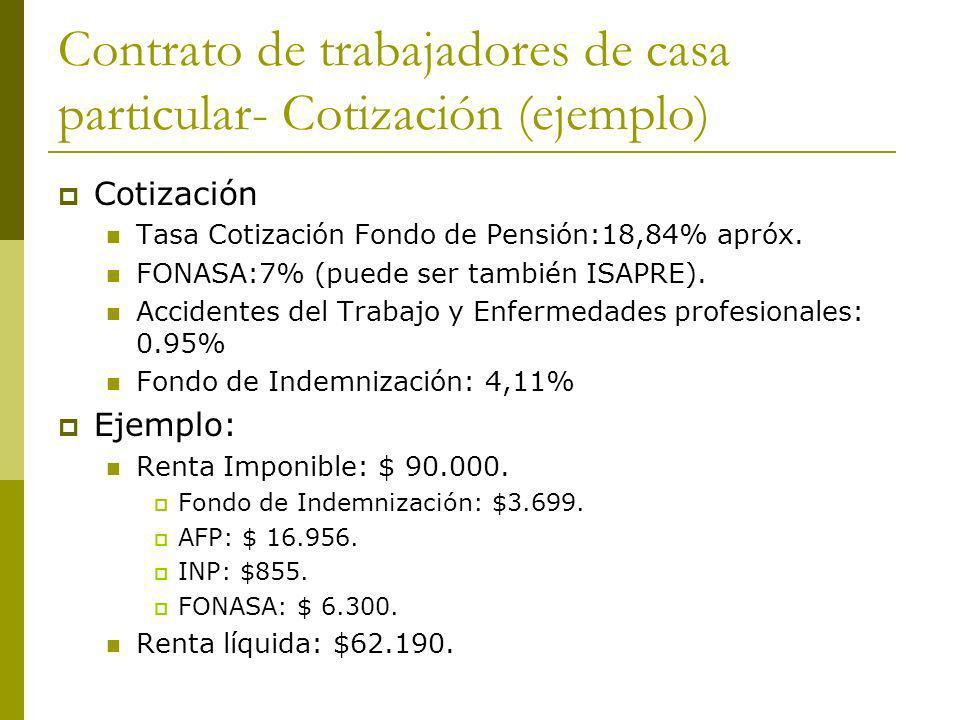 Contrato de trabajadores de casa particular- Cotización (ejemplo)