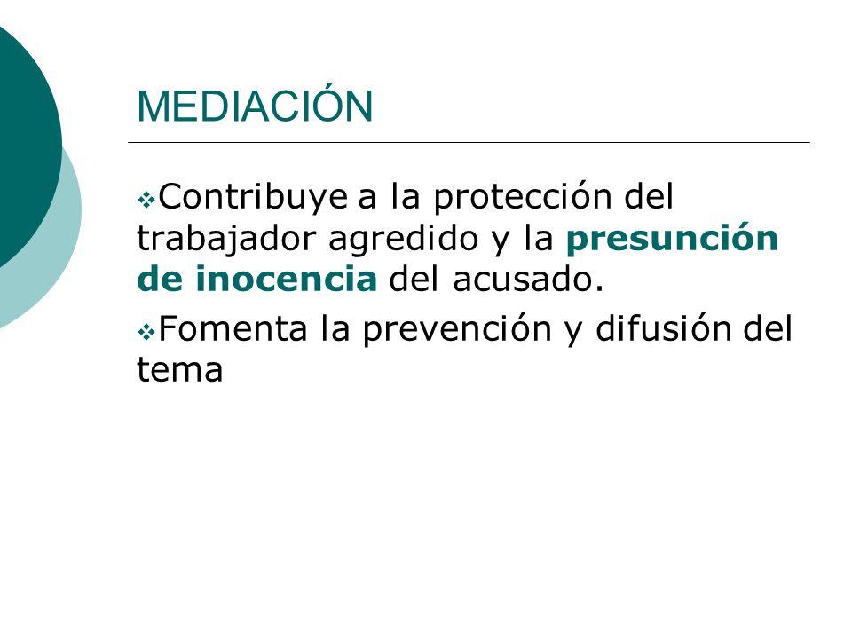 MEDIACIÓN Contribuye a la protección del trabajador agredido y la presunción de inocencia del acusado.