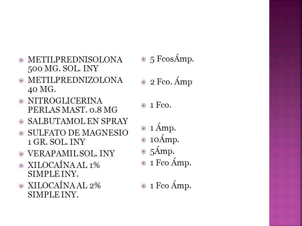 METILPREDNISOLONA 500 MG. SOL. INY