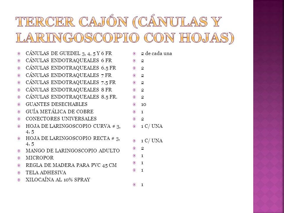 TERCER CAJÓN (CÁNULAS Y LARINGOSCOPIO CON HOJAS)