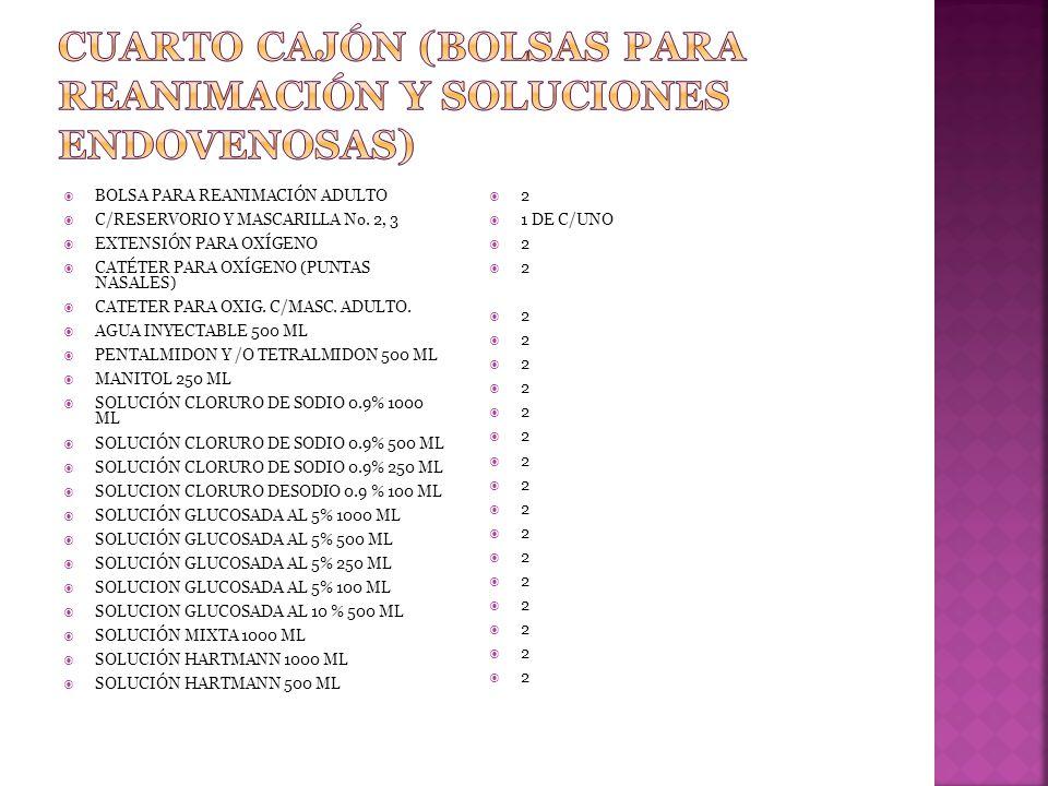 CUARTO CAJÓN (BOLSAS PARA REANIMACIÓN Y SOLUCIONES ENDOVENOSAS)