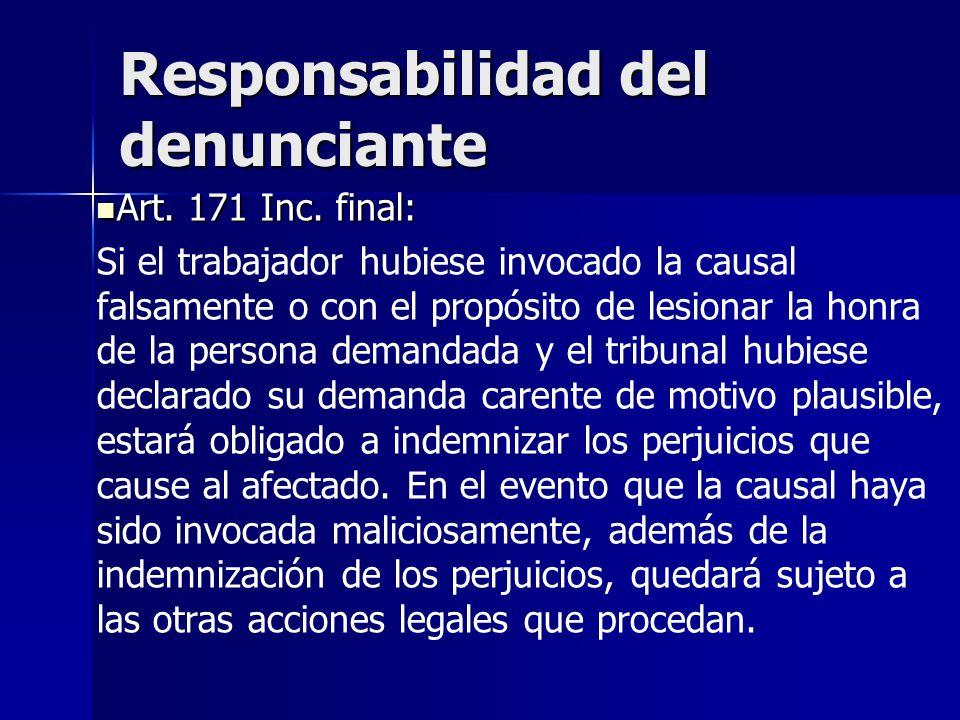 Responsabilidad del denunciante