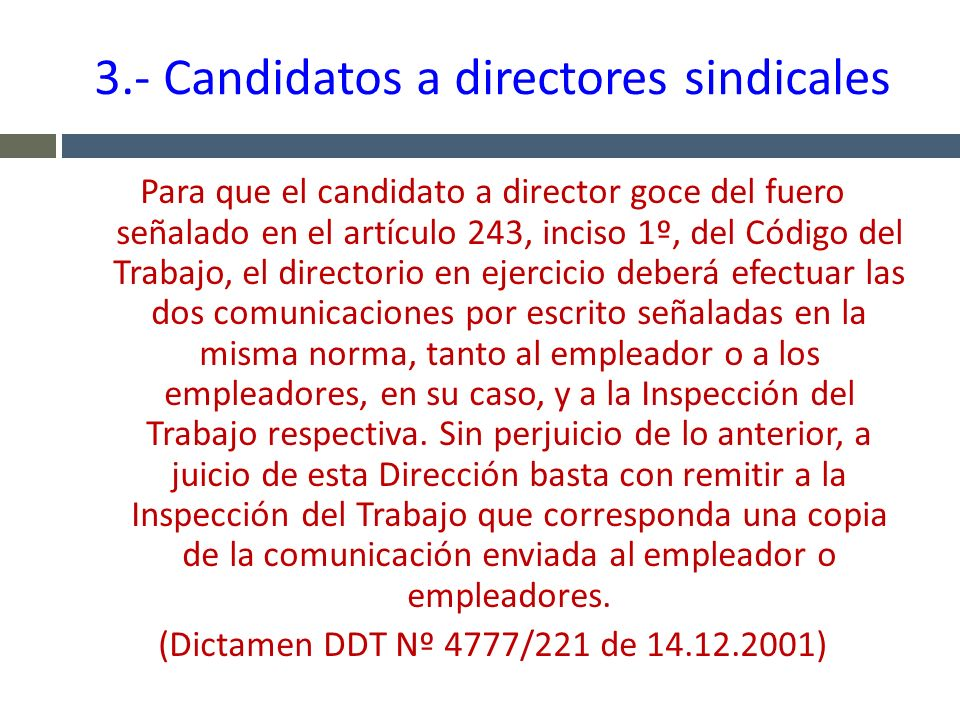3.- Candidatos a directores sindicales