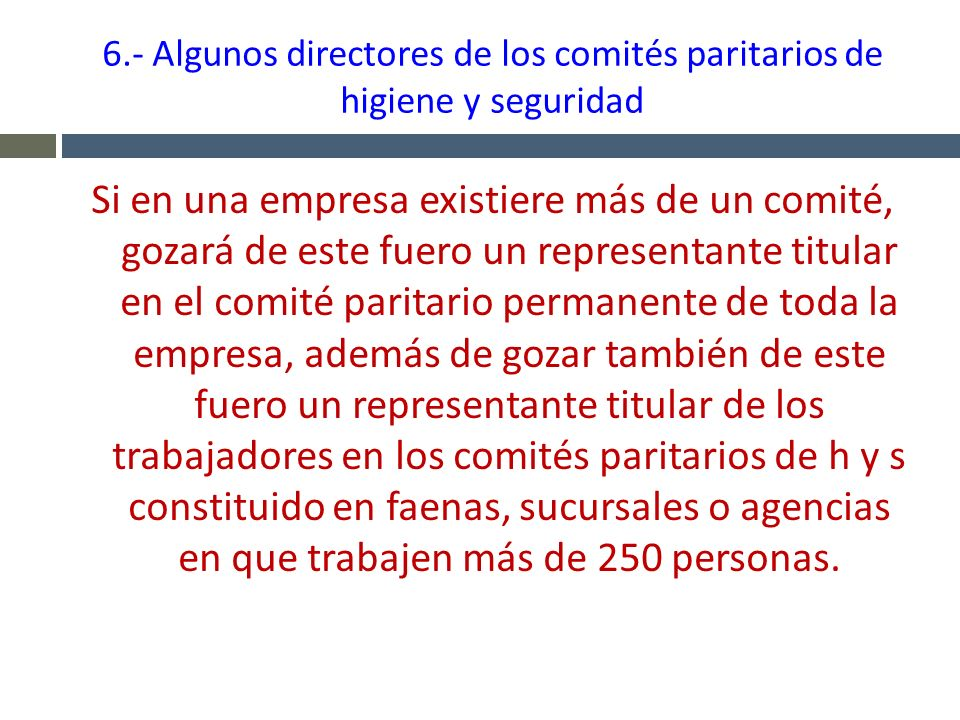 6.- Algunos directores de los comités paritarios de higiene y seguridad