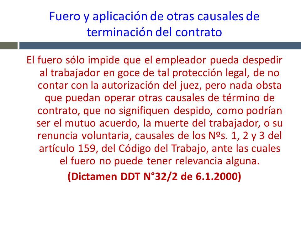 Fuero y aplicación de otras causales de terminación del contrato