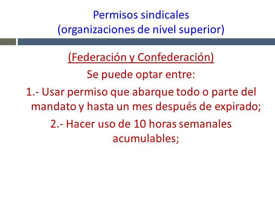 Permisos sindicales (organizaciones de nivel superior)