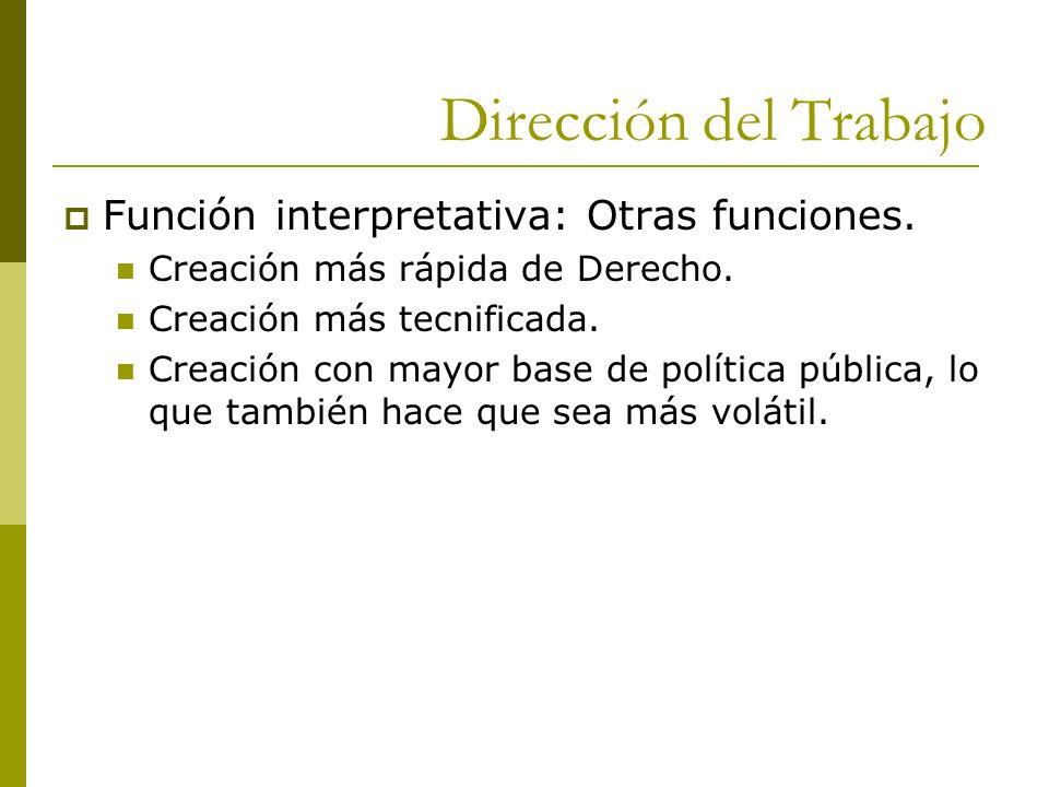 Dirección del Trabajo Función interpretativa: Otras funciones.