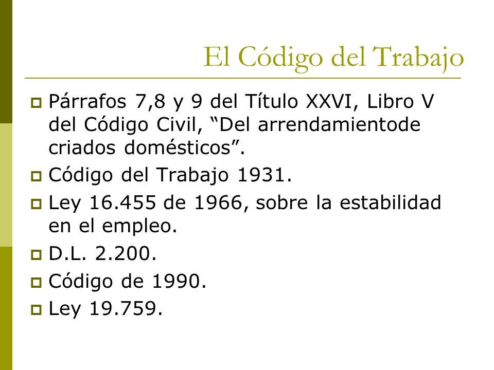 El Código del Trabajo Párrafos 7,8 y 9 del Título XXVI, Libro V del Código Civil, Del arrendamientode criados domésticos .