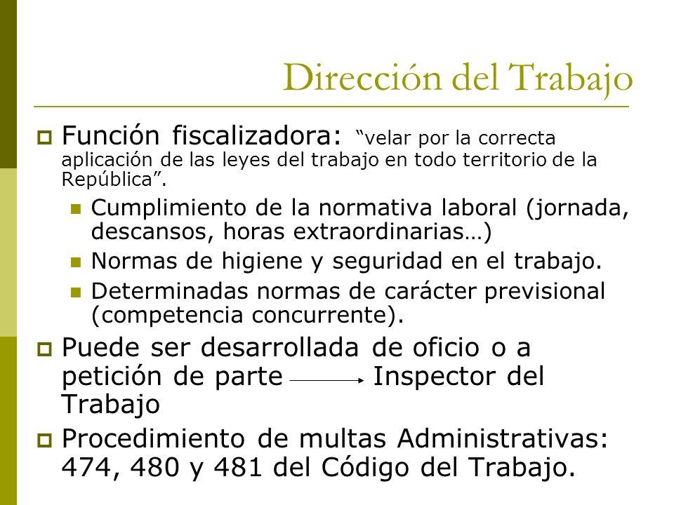 Dirección del Trabajo Función fiscalizadora: velar por la correcta aplicación de las leyes del trabajo en todo territorio de la República .