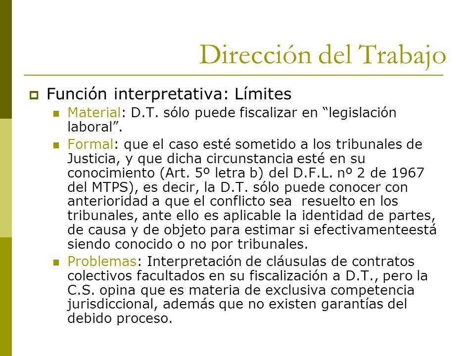 Dirección del Trabajo Función interpretativa: Límites
