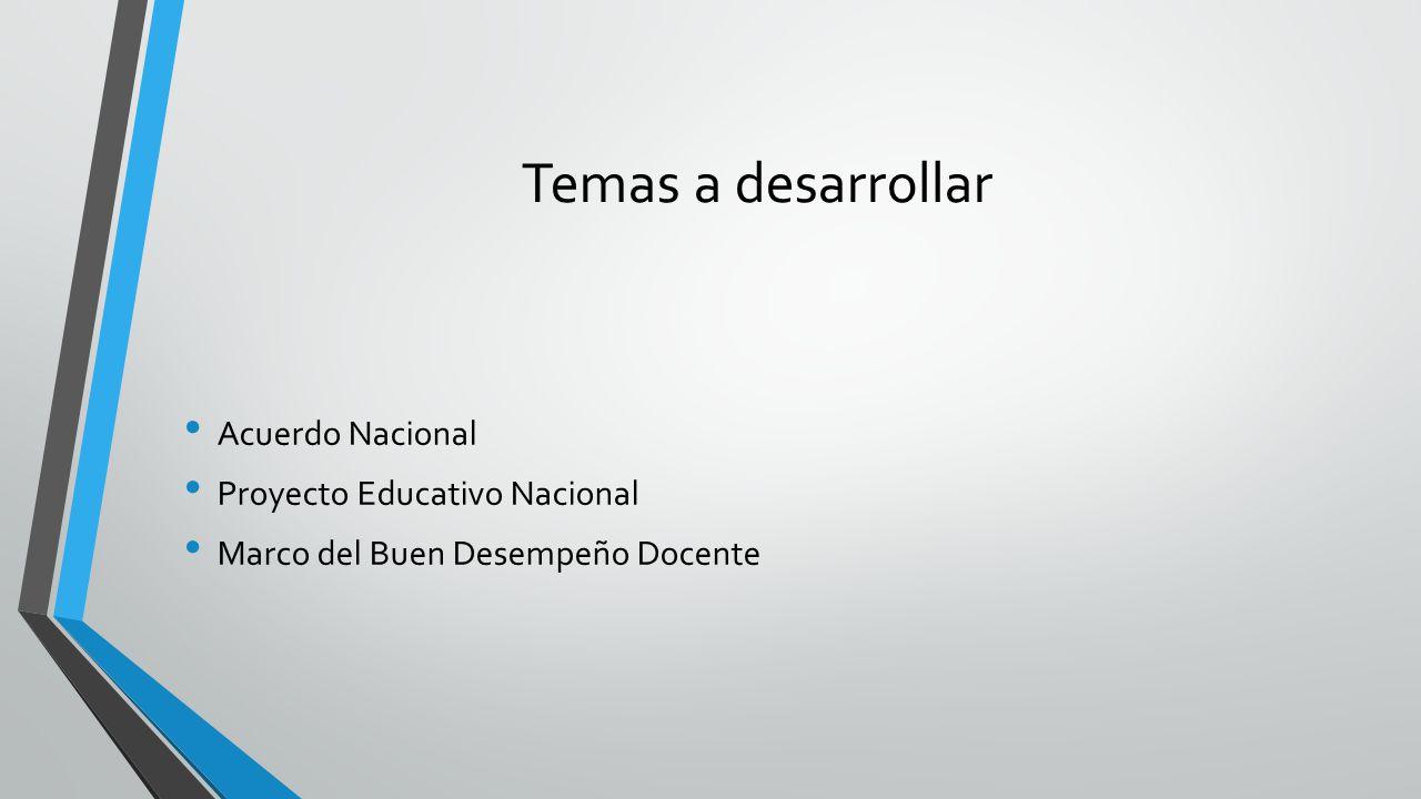 Temas a desarrollar Acuerdo Nacional Proyecto Educativo Nacional