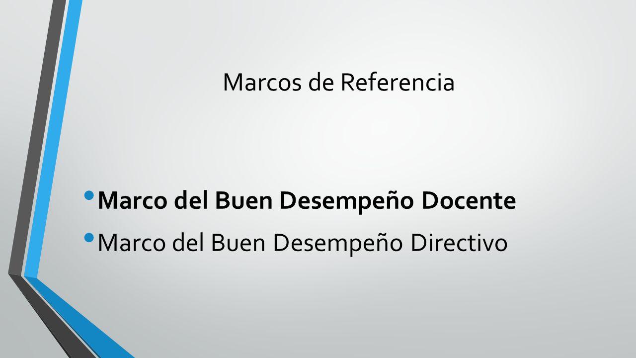 Marcos de Referencia Marco del Buen Desempeño Docente Marco del Buen Desempeño Directivo