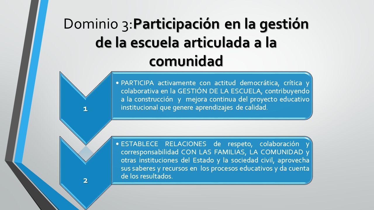 Dominio 3:Participación en la gestión de la escuela articulada a la comunidad