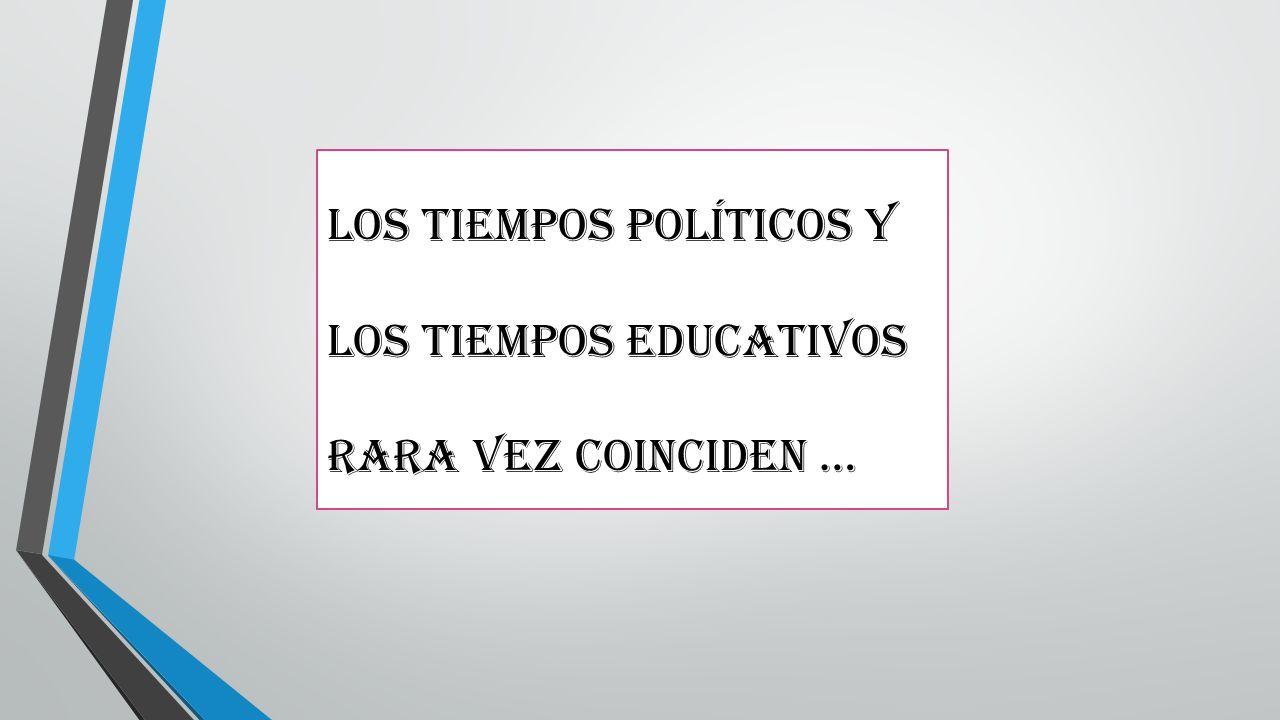 Los tiempos políticos y los tiempos educativos rara vez coinciden …