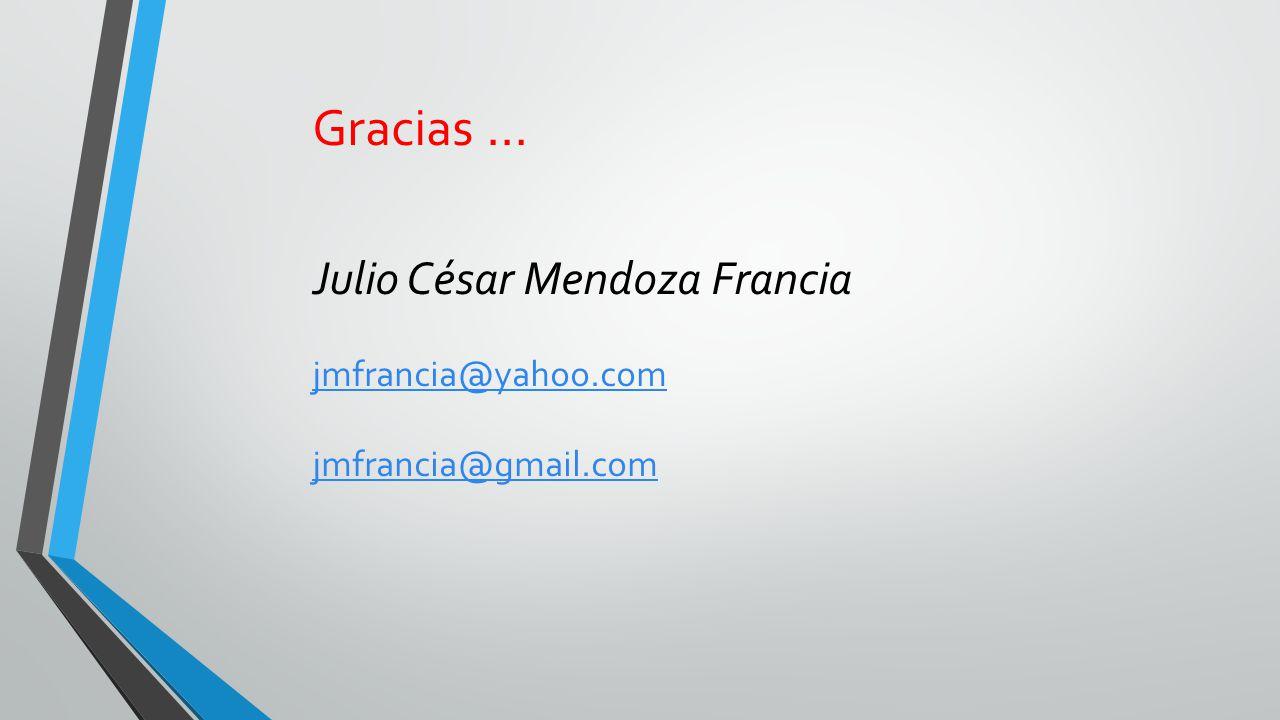 Gracias … Julio César Mendoza Francia jmfrancia@yahoo.com